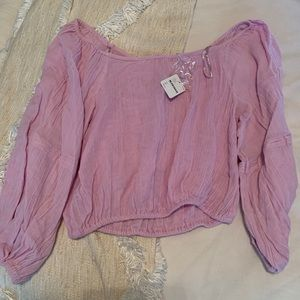 NWT FREE PEOPLE off shoulder light pink/purple top